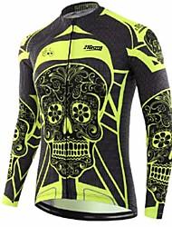 cheap -21Grams Sugar Skull Men's Long Sleeve Cycling Jersey - Black / Yellow Bike Jersey Top Thermal / Warm UV Resistant Breathable Sports Winter Fleece 100% Polyester Mountain Bike MTB Road Bike Cycling