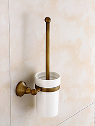 cheap -Toilet Brush Holder Creative Antique / Traditional Brass / Ceramic Bathroom Wall Mounted