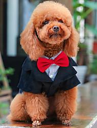 abordables -Chiens Manteaux Tenue Smoking Hiver Vêtements pour Chien Noir Costume Bébé Petit Chien Polyester Couleur Pleine Mariage S M L