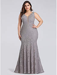 cheap -Mermaid / Trumpet V Neck Floor Length Lace Plus Size Formal Evening Dress with 2020