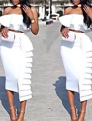 cheap -Women's Sheath Dress - Solid Colored Black White S M L XL