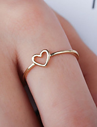 Недорогие -Жен. Кольцо 1шт Серебряный Розовое золото Медь Круглый Классический Мода фестиваль Бижутерия Сердце Сердце