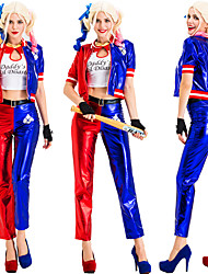 cheap -Harley Quinn Coat Pants Cosplay Costume Gloves Masquerade Adults' Women's Cosplay Halloween Halloween Festival / Holiday Cotton Polyster Blue Women's Carnival Costumes / T-shirt