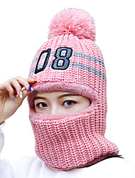 cheap -Women's Active Basic Cute Acrylic Ski Hat-Color Block Floral Print Winter White Blushing Pink Beige