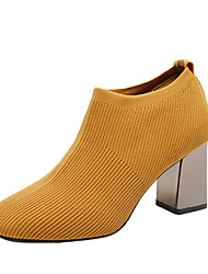 cheap -Women's Boots Block Heel Boots Chunky Heel Square Toe Booties Ankle Boots Minimalism Daily Elastic Fabric Solid Colored Black Yellow Khaki / Booties / Ankle Boots / Booties / Ankle Boots