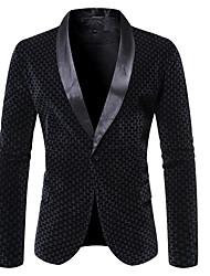 cheap -Men's Blazer Shawl Lapel Polyester Black / Light Brown