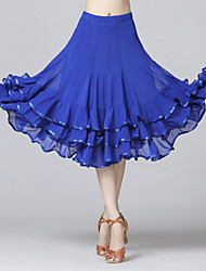 cheap -Latin Dance Skirts Pleats Cascading Ruffles Wave-like Women's Training Performance Natural Mesh Milk Fiber