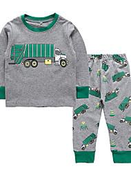 cheap -Kids Toddler Boys' Active Basic Print Cartoon Print Long Sleeve Regular Regular Clothing Set Gray