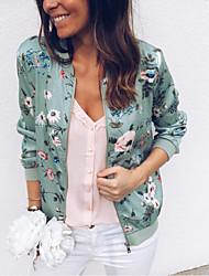 cheap -Women's Daily Basic Plus Size Regular Jacket, Geometric Round Neck Long Sleeve Polyester Green / White / Red / Slim