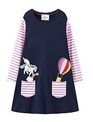 cheap -Kids Girls' Cute Striped Color Block Dress Navy Blue