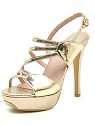 cheap -Women's Sandals Stiletto Heel Open Toe Buckle PU Summer Gold / Silver / Wedding / Party & Evening