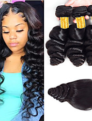 cheap -3 Bundles with Closure Peruvian Hair Loose Wave Virgin Human Hair 100% Remy Hair Weave Bundles Natural Color Hair Weaves / Hair Bulk Bundle Hair Human Hair Extensions 8-24 inch Natural Color Human