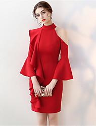 cheap -Women's Bodycon Dress - Long Sleeve Solid Colored Ruffle Crew Neck Elegant Party Slim Wine White Black Blushing Pink XS S M L XL XXL