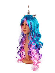 cheap -Cosplay Unicorn Pony Cosplay Wigs Women's 24 inch Synthetic Fiber Multi-color White Purple Ink Blue Anime