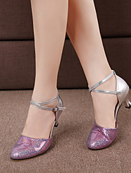 cheap -Women's Dance Shoes Synthetics Latin Shoes / Modern Shoes Paillette Heel Cuban Heel Purple / Blue