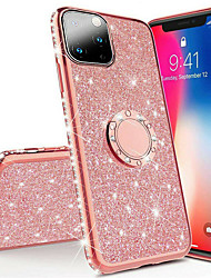 cheap -Rhinestone Bling Biling Phone Case for iPhone 11 Soft Silicone TPU Diamond Cover Glitter Finger Magnetic Ring iPhone Case for 11Pro Max / iphone 11 Pro / iphone 11 / XS Max XR XS X 8 Plus 8 7
