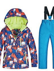 cheap -MUTUSNOW Boys' Ski Jacket with Pants Skiing Snowboarding Winter Sports Thermal / Warm Waterproof Windproof Space Cotton Terylene Flannel Clothing Suit Ski Wear