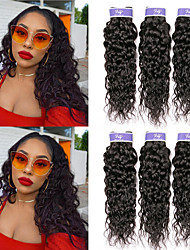 cheap -6 Bundles Indian Hair Water Wave Virgin Human Hair 100% Remy Hair Weave Bundles Headpiece Natural Color Hair Weaves / Hair Bulk Bundle Hair 8-28 inch Natural Natural Color Human Hair Weaves Natural