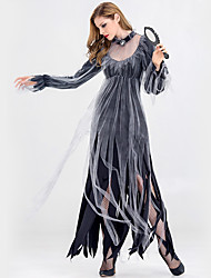 cheap -Vampire Ghostly Bride Cosplay Costume Halloween Props Adults' Women's Cosplay Halloween Halloween Festival Halloween Festival / Holiday Tulle Silk / Cotton Blend Gray Women's Carnival Costumes Solid