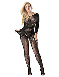 cheap -Women's Lace Backless Cut Out Bodysuits Nightwear Jacquard Solid Colored Black One-Size
