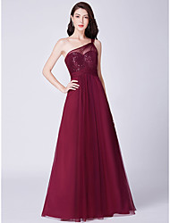 cheap -A-Line Elegant Prom Dress One Shoulder Sleeveless Floor Length Tulle Sequined with Sequin 2020