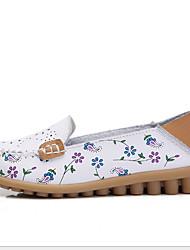 cheap -Women's Flats Flat Heel Round Toe Cowhide Summer White / Fuchsia / Orange