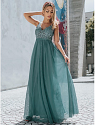 cheap -A-Line V Neck Floor Length Chiffon / Lace Empire / Blue Prom / Holiday Dress with Appliques 2020