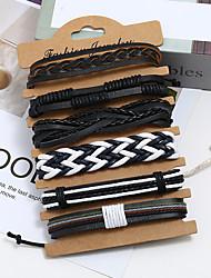 cheap -6pcs Men's Wrap Bracelet Vintage Bracelet Earrings / Bracelet Layered Weave Vintage Punk Trendy Ethnic Fashion Genuine Leather Bracelet Jewelry Black For Daily Street Festival / Loom Bracelet
