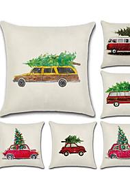 cheap -1pcs Christmas Cartoon Car Christmas Tree Linen Pillow Case Cushion Cover