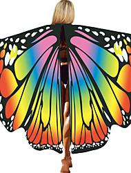 abordables -Papillon Ailes Manteau Femme Cosplay de Film Halloween Bleu clair / Rouge / jaune / Violet Manteau Halloween Polyester