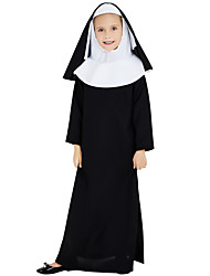 cheap -Nun Cosplay Costume Outfits Kid's Girls' Cosplay Halloween Halloween Festival / Holiday Polyster Black Carnival Costumes / Dress / Headpiece