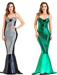 cheap -The Little Mermaid Mermaid Tail Dress Cosplay Costume Party Costume Adults' Women's Cosplay Halloween Halloween Festival / Holiday Cotton / Polyester Blend Black / Green Women's Carnival Costumes