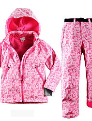 cheap -Boys' Girls' Ski Jacket with Pants Camping / Hiking Winter Sports Thermal / Warm Waterproof Windproof Flannel Clothing Suit Ski Wear