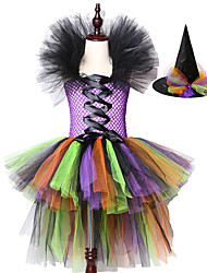 cheap -Girls Halloween Witch Tutu Dress Rainbow Trailing Tulle Kids Carnival Cosplay Children Fancy Ball Gown Dresses Costume