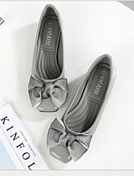 cheap -Women's Flats Flat Heel Round Toe Bowknot PU Summer Black / Wine / Pink