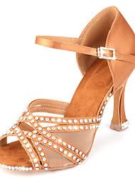 cheap -Women's Dance Shoes Satin Latin Shoes Satin Flower / Buckle / Crystal / Rhinestone Heel Flared Heel Customizable Almond / Practice