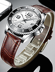cheap -WLISTH Men's Dress Watch Quartz Formal Style Modern Style PU Leather Black / Brown 30 m Calendar / date / day Noctilucent Analog Luxury Fashion - Black Brown One Year Battery Life / Stainless Steel