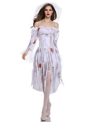 cheap -Ghostly Bride Cosplay Costume Outfits Adults' Women's Cosplay Halloween Halloween Festival / Holiday Polyster White Women's Carnival Costumes / Dress / Belt / Headwear