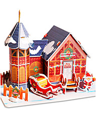 cheap -3D Puzzle Jigsaw Puzzle Model Building Kit Christmas Famous buildings House DIY Hard Card Paper Classic Cartoon Unisex Toy Gift