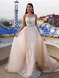 cheap -Mermaid / Trumpet Wedding Dresses Jewel Neck Chapel Train Lace Tulle Lace Over Satin Regular Straps Formal See-Through with Sashes / Ribbons Pearls Appliques 2020