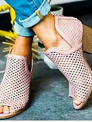 cheap -Women's Boots Chunky Heel Peep Toe PU Booties / Ankle Boots Summer Brown / Pink / Gray