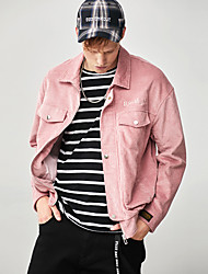 cheap -Men's Corduroy Jacket Front Zipper Solid Colored Black Pink Gray Corduroy Running Fitness Jacket Hoodie Top Long Sleeve Sport Activewear Breathable Soft Stretchy / Winter