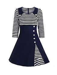 cheap -Women's Plus Size Swing Dress - Striped Shirt Collar Black Wine Navy Blue S M L XL