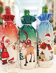 abordables -noël créatif bouteille de vin rouge dîner de noël ensemble père noël bonhomme de neige cerf bouteille couvercle vêtements sac cadeau de noël