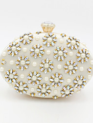 cheap -Women's Beading / Crystals Polyester / Alloy Evening Bag Floral Print Champagne