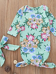 abordables -bébé Fille Basique Fleur Manches Longues Une-Pièce Vert
