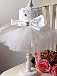 abordables -Chiens Tenue Vêtements pour Chien Blanche Costume Bébé Petit Chien Polyester Couleur Pleine Mariage XS S M L XL XXL