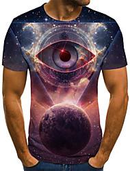 cheap -Men's Daily Sports Basic / Exaggerated T-shirt - 3D / Graphic / Eye Black & White, Print Navy Blue