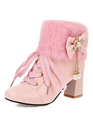 cheap -Women's Boots Chunky Heel Round Toe Bowknot / Imitation Pearl / Stitching Lace Faux Leather Booties / Ankle Boots Casual / Sweet Walking Shoes Spring &  Fall / Fall & Winter Black / White / Pink