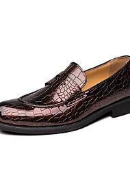 cheap -Men's Formal Shoes PU Spring & Summer / Fall & Winter Casual / British Loafers & Slip-Ons Black / Brown / Party & Evening